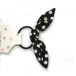 Polka Dots Black Bow Hair Elastic Ponytail Holder