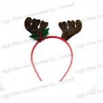 Christmas Sequin Reindeer Antlers and Tinkle Bell Headband, Party Headband