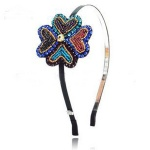 Colored Beaded Heart Pattern Flowers Alice Band