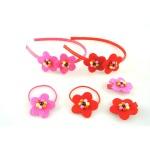Felt Flowers With Beads Alice Band hair Clip and Ponytail Ealstic Kits