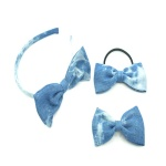 Blue Denim Bow Alice Band, Hair Clip And Ponytail Holder Elastic Kits