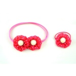 Dotted Flowers Elastic Ponytail Holder For Kids