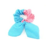Dotted Ear Bow Double Color Scrunchies