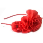 Red Chiffon Flowers Headband Party Hair Band