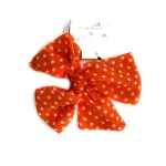 Polka Dotted Chiffon Bow Hair Elastic Ponytail Holder