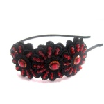 Red Beads on Embroidered Flower Alice Band