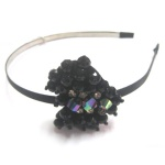 Black Beaded Heart Alice Band