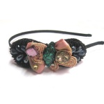 Multiple Stones And Beads Bow Alice Band