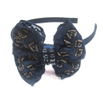 Beaded Pattern Lace Bow Alice Band
