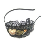 Beaded With Small Flowers On Lace Cap Alice Band