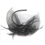 Ribbon Rose With Feather Fascinator Veil Alice Band