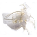 White Mesh Bow And Flower Fascinator Alice Band