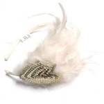 Sequin Heart Charm White Feathers Alice Band
