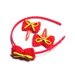 Crocheted Bow Alice Band And Hair Clip Kids