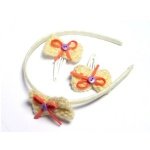 Small Crocheted Bow Alice Band And Hair Clip Kits