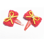 Red Crocheted Bow Hair Clip Snap Clip