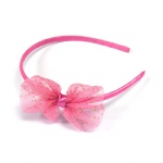 Golden Dots Pink Mesh Bow Alice Band Headband