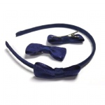 Dark blue Grosgrain Bow Alice Band And Hair Clips Set