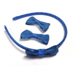 Blue Grosgrain Bow Alice Band And Hair Clips Set