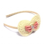 Crocheted Bow With Ribbon Bow Alice Band