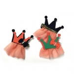 Crown With Mesh Fringe Hair Clip For Kids