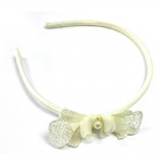 Cream Lace Bow With Chiffon Flower Alice Band