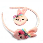 Pink Ribbit Alice Band And Hair Clip Set