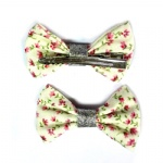 Small Floral Bow Hair Clip