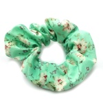 Spring Summer Flower Pattern Green Scrunchies