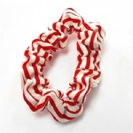 White And Red Stripes Scrunchies
