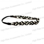 White And Black Knitting wool Braided Elastic Headband