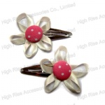 Button With Ribbon Flower Hair Clip Snap Clip