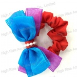 Double Two-Tone Tulle Bows Scrunchies