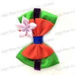 Colored Doule Layers Bow With Flower Hair Clip