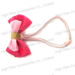 Pink Ribbon Bow Hair Elastic Hair Band Ponytail Holder