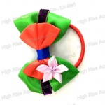 Satin Bows And Flower Hair Elastic Ponytail Holder Hair Band