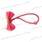 Three Pink Colors Bow Hair Elastic Hair Band Ponytail Holder