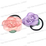 Rose Flower Double Band Hair Elastic Ponytail Holder