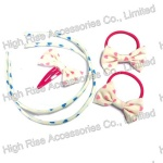 Blue Heart Pattern Bow Alice band, Elastic and Snap Clip Set, Headband Kits