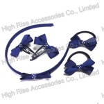 Navy Blue Ribbon Bow Alice band, Elastic and Snap Clip Set, Headband Kits
