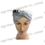 Grey Jersey Bandana With Crystal , Wide Headwrap