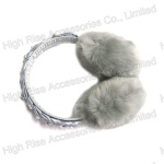 Grey Braided  Faux Fur Earmuffs With Pearls For Winter