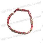 Crystal and floral Fabric Braided Elastic Headband