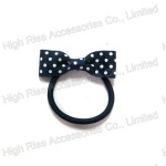 Dotted Bow Hair Elastic, Ponytail Holder