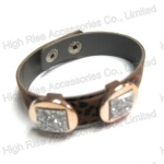 Faux Leather Band With Crystal Bracelet