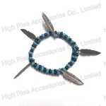 Double Strands Beads With Metal Leaf Charms Bracelet