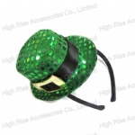 Christmas Green Sequin Top Hat party Headband Alice Band