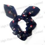 Christmas Dot/ Santa Hat Pattern Navy Blue Scrunchie