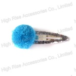 Blue Pom Pom Ball Snap Clip, Hair Clip For Kids