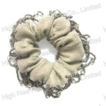 Beads Fringe Grey Scrunchie